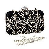 ClearloveWL Bolso de mensajero con cadena de embrague bordado dorado impreso, con diamantes de imitación, para fiesta, cena, boda, noche (color: negro)