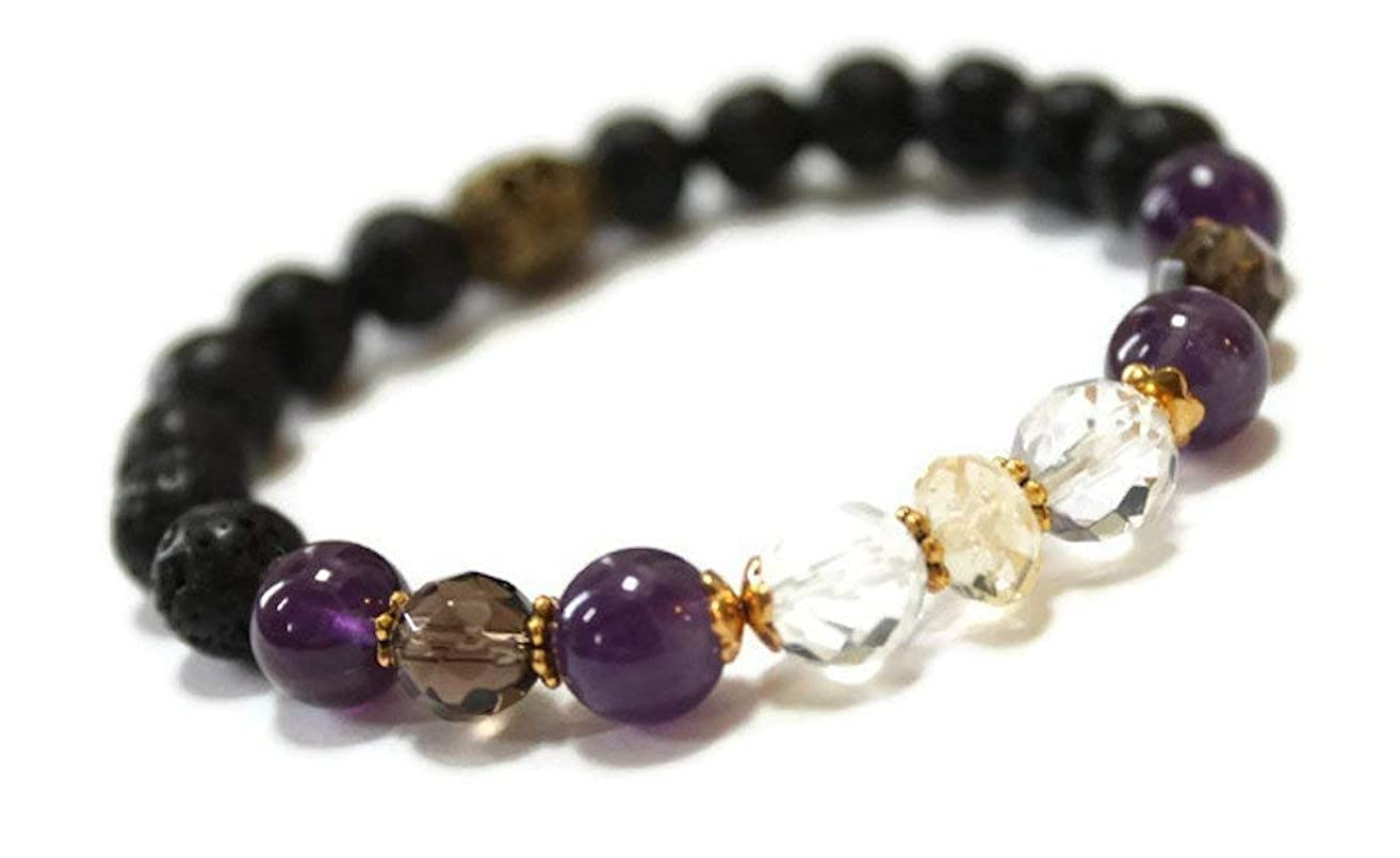 Lava and Gemstone Aromatherapy Wellness Bracelet for Positive energy, Focus, Clarity, Amethyst, Citrine, Rock Crystal, Smokey Quartz, essential oil stress relief Diffuser