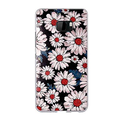 FUBAODA für HTC U Ultra Hülle, Romantische Klassische Blumen Zeichnung, Transparent Weiche Silikon Schutzhülle TPU Bumper Hülle für HTC U Ultra (5.7