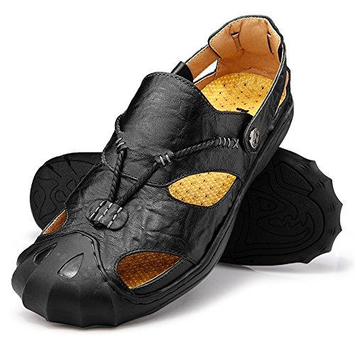 Sandalias Deportivas Para Hombre Verano Exterior Senderismo, Con Puntera Cerrada, Cuero Sandalias de Playa, Zapatillas de Montaña
