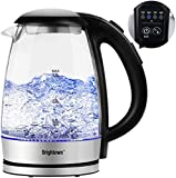Electric Tea Kettle Temperature Control with 4 Colors Led Light Hot Water Glass Pot Variable Fast Heating Auto Shut off and Boil dry Protection (1.7L 1500W)