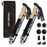 TREKOLOGY Trek-Z Trekking Hiking Poles - 2pc Pack Collapsible Folding Walking Sticks, Strong Lightweight Aluminum 7075,Adjustable Quick Flip-Lock, Foldable
