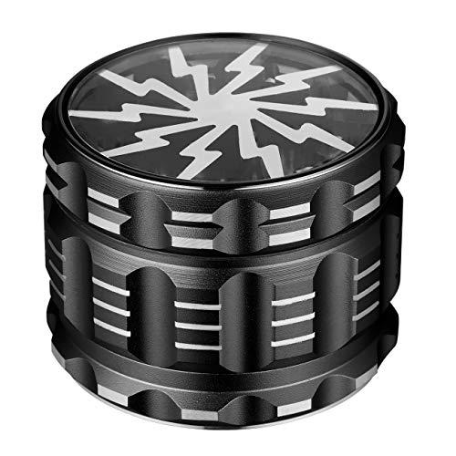 LIHAO Grinder Pollen Crusher 4-Teilig Mühle Blitz-Form Design Aluminium mit Scraper für Gewürze, Tabak, Kräuter, Spices (62 x 48 mm, Schwarz)