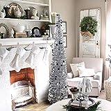 DECARETA - Árbol de Navidad artificial (150 cm, plegable, plateado)