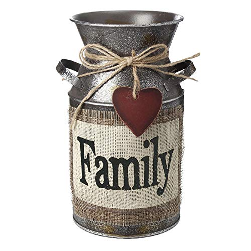 HIDERLYS HIDERLYS 7.5' High Rustic Decorative Vase with Greetings and Rope Design, Metal Milk Can Country Jug for Living Room, Bedroom, Kitchen(Family)