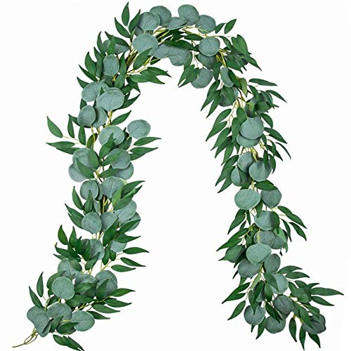 Der Rose 3pcs 6.5 Feet Artificial Silver Dollar Eucalyptus Leaves Garland with Willow Vines Twigs Leaves String for Greenery Garland Table Runner Garland Indoor Outdoor.