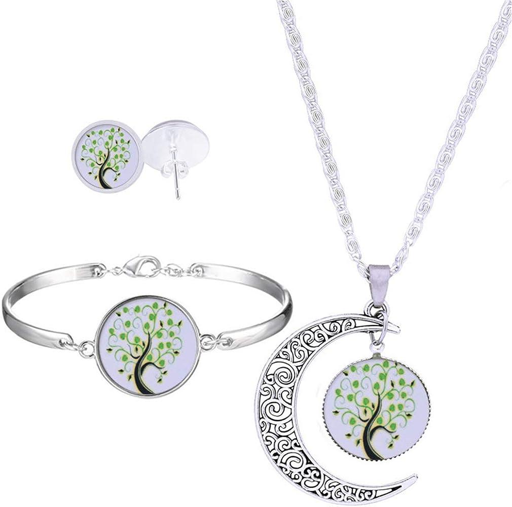 Yazilind 3 Pcs Collier Boucles doreilles Bracelet Ensemble Lune Arbre de Vie Effacer Pendentif Temps Gems S/érie pour Femmes Cadeaux