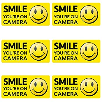 Smile You re on Camera - Security Camera Recording Decal Sticker Packs - Choose Your Size and Design  Small 2579 - Yellow 6   Small 2578 Horizontal 6