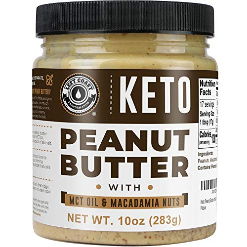 Keto Peanut Butter with Macadamia Nuts and MCT Oil 10oz - [Smooth] Keto Nut Butter Spread   Perfect fat bomb, low carb keto snack (1g net carbs)