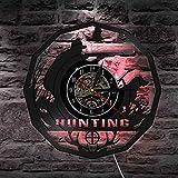 KEC Reloj de Pared de Regalo de Caza de Cazador de Ciervos Reloj de Pared de Vinilo Retro Reloj de Pared de Animales Trofeo Premio Hombres Rifle Pursuit Reloj Decorativo Relojes de Pared