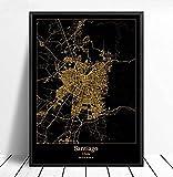 Imagen de póster 50x70cm Sin marco Santiago Chile Mapa de la ciudad Mapa de la ciudad en negro y dor...