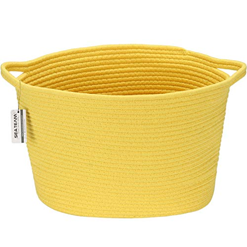Sea Team Oval Cotton Rope Woven Storage Basket with Handles, Diaper Caddy, Nursery Nappies Organizer, Baby Shower Gift Basket for Kid's Room, 14.2 x 9 x 11.4 Inches (Medium Size, Yellow)