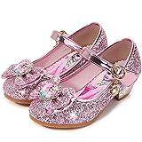 YOGLY Sandalias Zapatos de Tango Latino para Niños Vestir Fiesta Princesa de Tacón Primavera Verano Zapatillas de Baile Cosplay Fiesta Zapatos de Cristal con Lentejuelas Sophia Princess