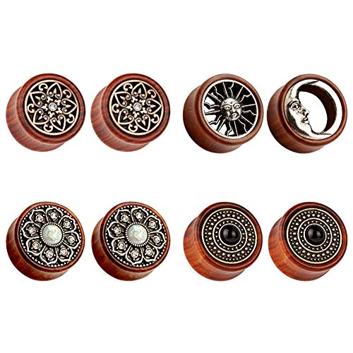 TBOSEN 8stk Sun Moon Organic Holz Saddle Ear Ohr Plugs Tunnels Stretching Punk Piercings Expanders Set