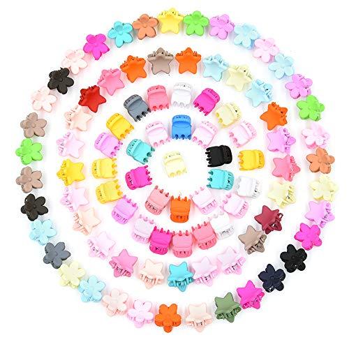 Vathery Mini Haarspangen Baby, 90 Stk Haarklammer Blume Kleine Hair Claw Clips für Mädchen Damen (zufällige Farben)