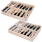 Under Bed Shoe Storage Organizer (2 Pack Fits 32 Pairs) Underbed Shoes Closet Storage Solution with Sturdy and Breathable Materials for Sneakers,Clothes, Great Space Saver for Your Closet