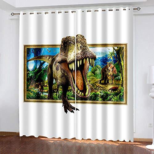 ZXDYLY Cortinas Opacas Dinosaurio Resistente al Calor y La Luz para Salón Dormitorio Cortina Gruesa y Suave para Cortinas Moderno Opacas Suaves para Ventanas Reducción de Ruido 140x175 cm 2 Piezas