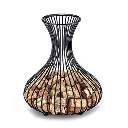 Cozyhoma Soporte de corcho para botellas de vino, elegante forma de jarrón, soporte de corcho para corchos de vino, soporte de metal con gran apertura y parte inferior resistente para amantes del vino
