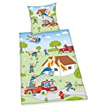 Herding Young Collection Bettwäsche-Set, Feuerwehr-Wendemotiv, Bettbezug 135 x 200cm, Kopfkissenbezug 80 x 80cm, Baumwolle/Renforcé