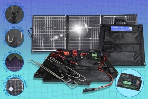 preVent GmbH Solartasche ETFE Oberfläche 135W Solarmodul faltbar mit MPPT Laderegler viel Zubehör Solarkoffer Laderegler Votronic 165 Duo