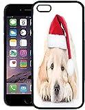 Telefonkasten für iPhone 8 Plus Hülle, H& trauriger golden Retriever-Welpe in der roten Weihnachtsmannmütze, die Vorderansicht-Feiertag, Gummi-Grenzschutzkasten, schwarz liegt