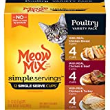 Meow Mix Simple Servings Wet Cat Food, Poultry Variety Pack, 1.3 Ounce (Pack of 12)
