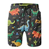 Frankv Shorts de Bain pour Hommes Vector Collection de Dinosaures Mignons de Dessin animé Seamless Pattern XXL Maillot de Bain