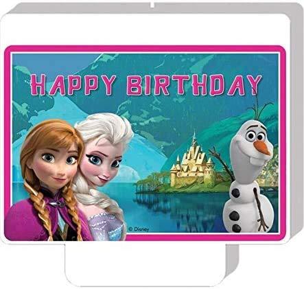 Candela in cera di FROZEN il regno di ghiaccio - 9xh7cm - Candelina per Torta e dolci - candela di compleanno in cera a forma del personaggio di FROZEN con Elsa, Anna e Olaf