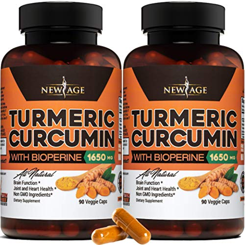 Turmeric Curcumin with Bioperine 1650mg by New Age - 2 Pack - Premium Joint & Healthy Inflammatory Support with 95% Standardized Curcuminoids. Non-GMO, Gluten Free Capsules with Black Pepper