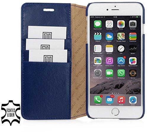 StilGut Schutzhülle für iPhone 6s Karten-Fächern aus Leder, nachtblau