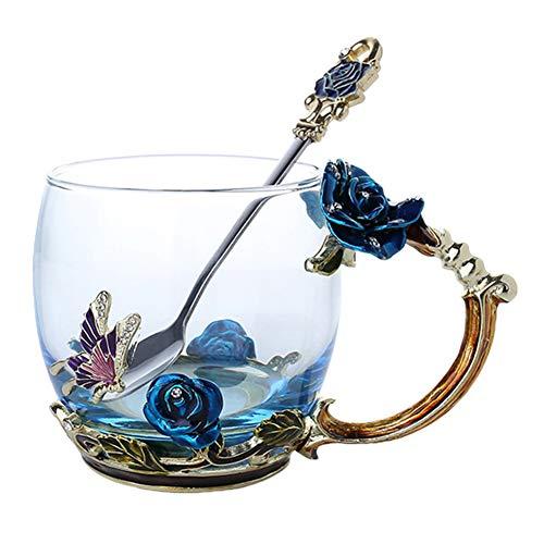 JklausTap Emaille Kaffee Tee Tasse Becher 3D Rose Schmetterling Glas Tassen Hochzeitsgeschenk Kaffeetasse, Teetasse, Wassertasse