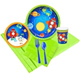 BirthdayExpress Solar System Rocket to Space Astronaut Party Supplies - Party Pack for 16