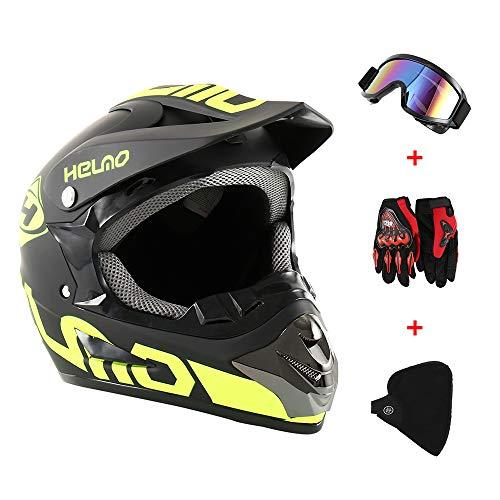 GreenRibbon 4pcs Cascos de Motocros Casco de Cross Adulto Fantastic FS945 con Gafas Protectoras Guantes Mask (A)