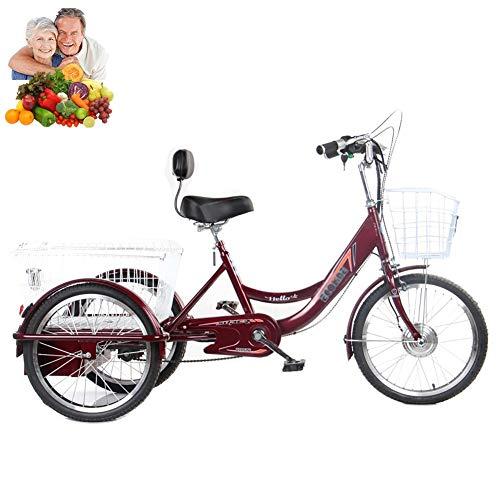 Triciclo para Adultos Bicicletas eléctricas de 3 Ruedas de 20 Pulgadas para Padres con Cesta de la Compra ampliada Bicicletas eléctricas de Tres Ruedas Regalo de Acero Alto Contenido de Carbono