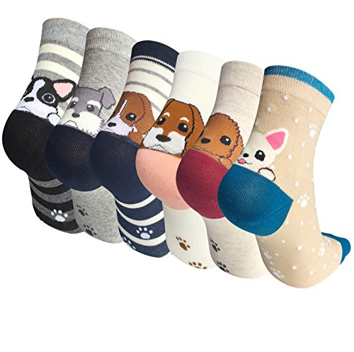6 Pairs Womens Cute Animal Cartoon Cotton Colorful Casual Crew Socks by Chalier