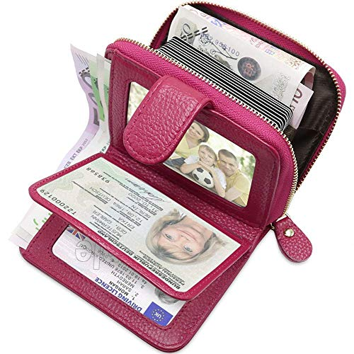 LYsng Cartera Tous Mujer Billeteras Mujer Monederos De Mujer Cartera Mujer Monedero Mujer PequeñO para Uso Diario Monedas Billetes Tarjetas Móvil Rose Red