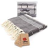 Bazaar Anatolia Stripe Turkish Towel 100% Cotton Peshtemal 75x38 XL Oversized Bath Beach Sand Free Travel Shower Bathroom Pestemal Soft Thin Lightweight Travel Pool Quick Dry Striped Towels (Black)