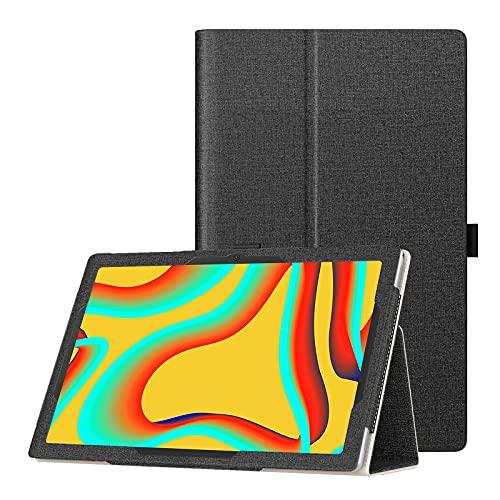 TiMOVO Funda Compatible con MatrixPad S30 10' Tablet, PU Cuero Ultra Slim Funda Compatible con Vankyo MatrixPad S30 10 Inch Tablet Función de Soporte Plegable Tableta, Denim Negro