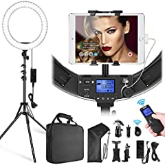【Package Included】1x 19 inch Ring Light, 1x 74.8 inches/188cm Light Stand, 1x Carrying Bag for ring light, 1x Carrying case for stand, 1x Plastic Diffusion filter(White), 1x iPad Holder,1x Phone Holder, 1x Camera Mounting Bracket, 1x Adapter with US ...