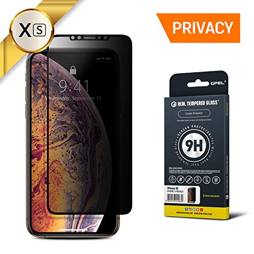 GPEL Privacy Screen Protector for iPhone Xs/iPhone 11 Pro Compatible Real Tempered Glass Privacy Anti Spy Case-Friendly Work with Most Case HD Clarity 9H Hardness 99% Touch Accurate