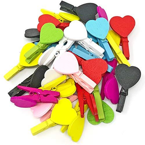 30mm gemischt Farbe Mini-Wäscheklammern mit passenden 18mm Herzen Craft für Shabby Chic Hochzeit, holz, multi, 30 mm