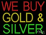 26x20x1 inches We Buy Gold & Silver Animated Flashing LED Window Sign