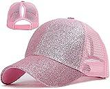 Walea Sombrero de cola de caballo para mujer, gorra de béisbol con purpurina brillante, moño desordenado, sombrero de coleta de caballo, gorra ajustable de camionero sombrero de papá