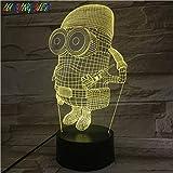 lampara 3D Pared 16 Cambios de Color únicos Minions despreciables lámpara de Mesa lámpara de Dormitorio lámpara de Color Regalo de cumpleaños