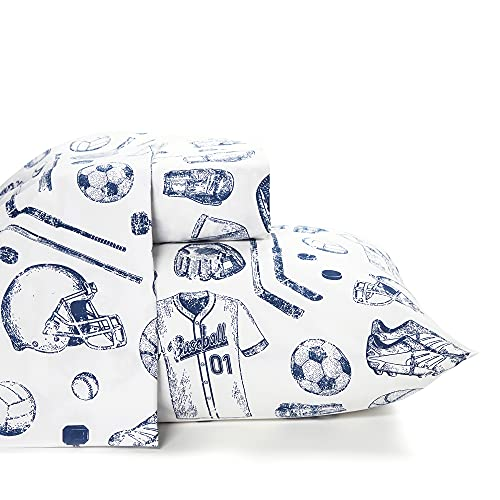 Where the Polka Dots Roam Twin Size Bed Sheets Sports Themed 3 Piece Set │ Blue and White, Unisex, Flexible Microfiber, Durable, Wrinkle-Resistant Bedding │ Boys, Girls, Baby, Kids, Toddler, Teen