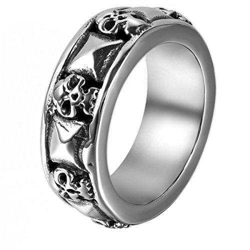 JewelryWe Schmuck Herren-Ring, Gotik Totenkopf Schädel Pyramide, Edelstahl, Schwarz Silber - Größe 57