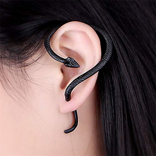 feichang Pendientes vintage de serpiente espiritual para mujeres y hombres, con clip de oreja, estilo punk rock punk para cartílago (color metal: negro)