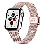 RUHE Correa Compatible con Apple Watch 38mm 40mm 42mm 44mm,Pulsera de Repuesto de Acero Inoxidable Correa para iWatch Series SE 6 5 4 3 2 1,Hombres y Mujer(38mm/40mm,Rosa)