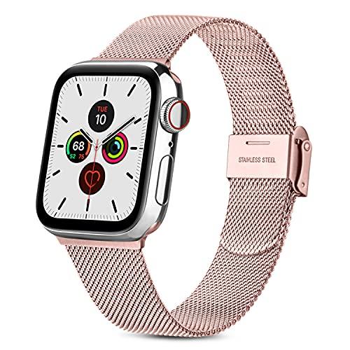 RUHE Correa Compatible con Apple Watch 38mm 40mm 42mm 44mm,Pulsera de Repuesto de Acero Inoxidable Correa para iWatch Series SE 6 5 4 3 2 1,Hombres y Mujer(38mm/40mm,Rosa)