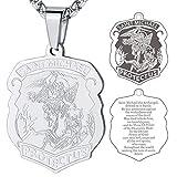 Medalla San Miguel Arcángel para Hombres Collar Dudadero Acero Inoixdable 316L con Cadena Cuadrada 55cm Joyería Religiosa de Protección para Familia